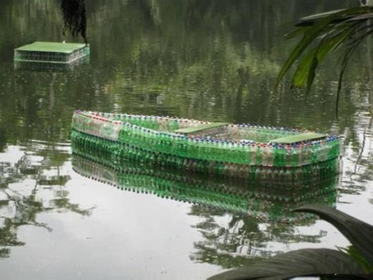 A Boat Made With Old Bottles