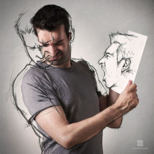 Photographer Sketches Over His Own Photos To Illustrate His Life