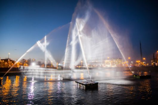 3D Ship Projected Onto Water At Amsterdam