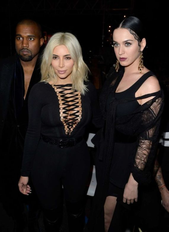 Katy Perry And Kim Kardashian At Givenchy Fashion Show