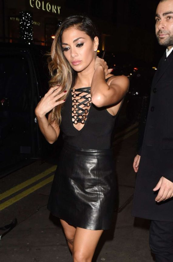 Nicole Scherzinger In Black Outside Drama Club