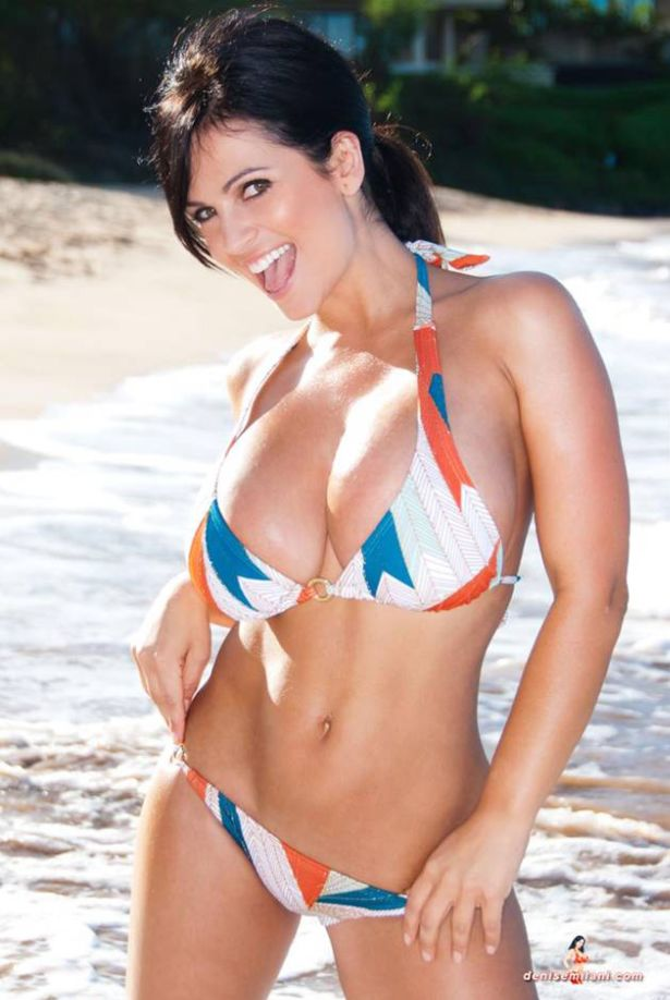 Denise Milani in Bikini on Beach